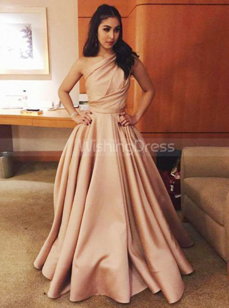 One Shoulder Pleated Prom Dresses,A-line Evening Dress,PD00399