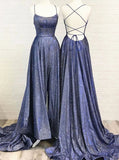 Open Back Prom Dresses,Long Prom Dress with Spaghetti Straps,PD00475
