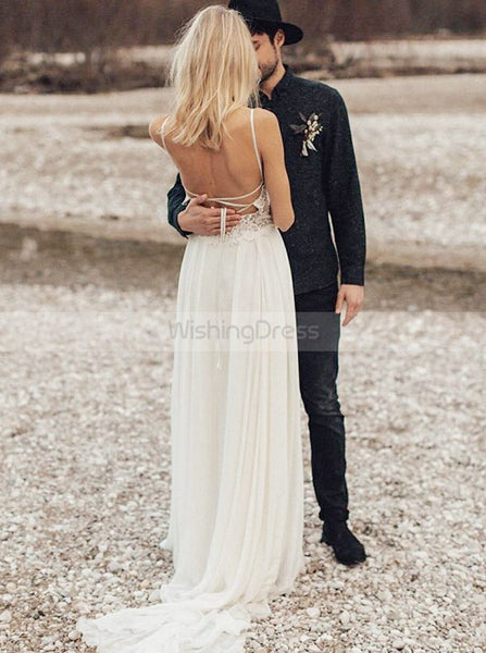 Open Back Wedding Dresses,Boho Bridal Dress,Beach Wedding Dress,Long Wedding Dress,WD00248