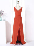 Orange Bridesmaid Dresses,Modern Bridesmaid Dress,Chiffon Bridesmaid Dress,BD00204