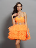 Orange Sweet 16 Dresses,Strapless Sweet 16 Dress,Ruffled Sweet 16 Dress,SW00033