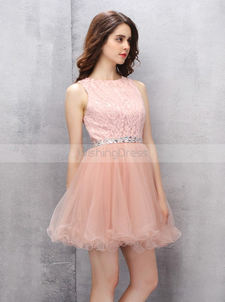 Peach Homecoming Dresses,Lace Sweet 16 Dress,Short Sweet 16 Dresses,Sw00014