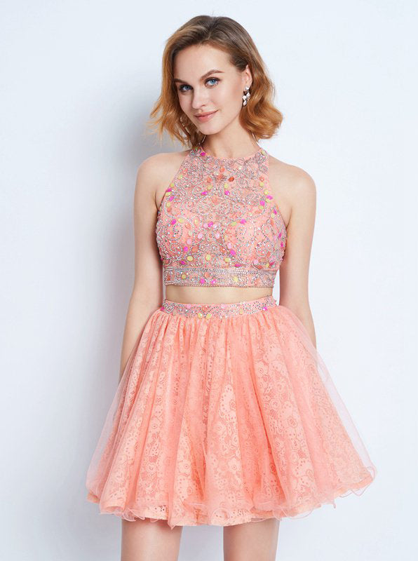 super quality best website los angeles Peach Homecoming Dresses,Two Piece Homecoming Dress,Cocktail Dress for  Teens,HC00154