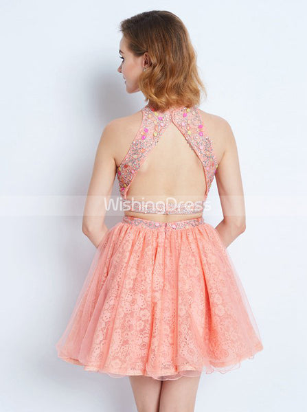Peach Homecoming Dresses,Two Piece Homecoming Dress,Cocktail Dress for Teens,HC00154