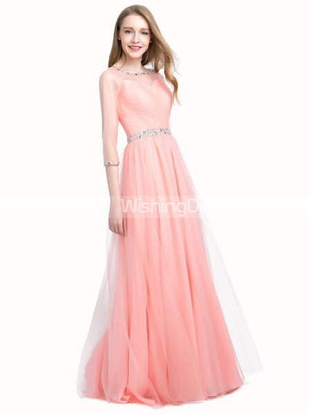 Peach Junior Prom Dresses,Prom Dress with Sleeves,Tulle Prom Dress,PD00338