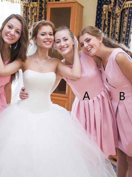 Pink Bridesmaid Dress,Mismatched Bridesmaid Dress,Short Bridesmaid Dress,BD00051