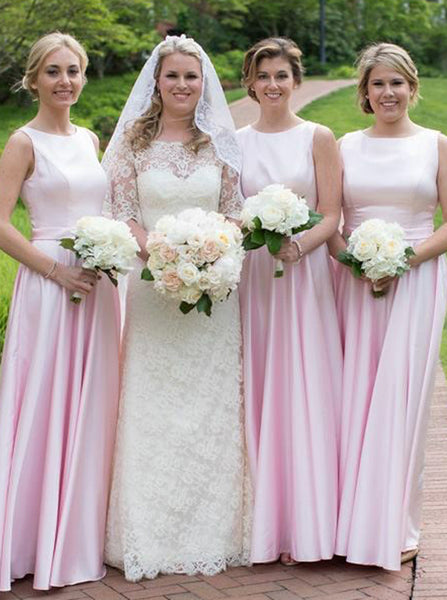Pink Bridesmaid Dress,Satin Bridesmaid Dress,Long Bridesmaid Dress,BD00172
