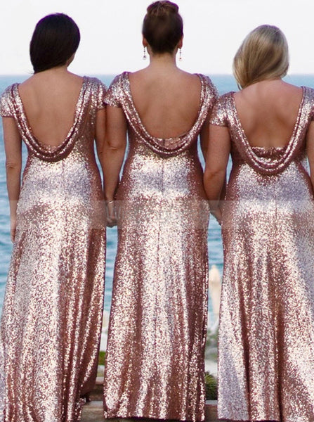 Pink Bridesmaid Dress,Sequined Bridesmaid Dress,Bridesmaid Dress with Short Sleeves,BD00020