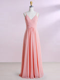 Pink Bridesmaid Dress,Spaghetti Straps Bridesmaid Dress,Chiffon Bridesmaid Dress,BD00188