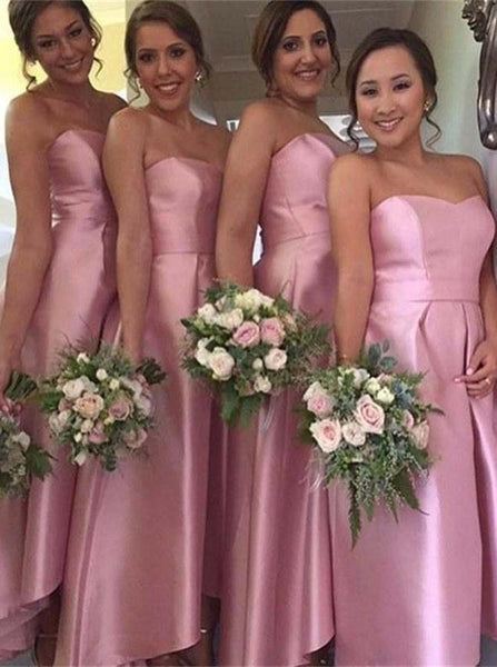 Pink Bridesmaid Dress,Taffeta Bridesmaid Dress,High Low Bridesmaid Dress,BD00093