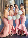 Pink Bridesmaid Dress,Trumpet Bridesmaid Dress,Satin Off the Shoulder Bridesmaid Dress,BD00016