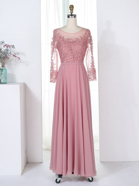 Pink Bridesmaid Dress with Sleeves,Chiffon Bridesmaid Dress,Long Bridesmaid Dress,BD00189