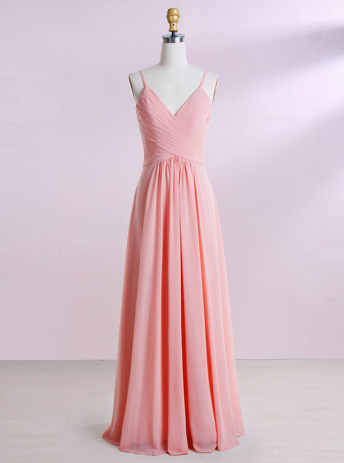 Peach Bridesmaid Dresses,Long Bridesmaid Dress,Spaghetti Straps Brides - Wishingdress