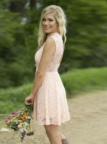 Pink Short Bridesmaid Dress,Lace Bridesmaid Dress,High Neck Bridesmaid Dress,BD00210