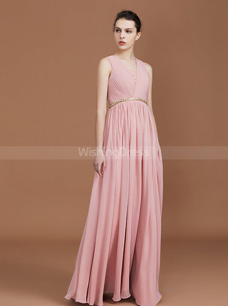 Pink Bridesmaid Dresses with Beaded Belt,Chiffon Bridesmaid Dress with Lace Back,BD00328