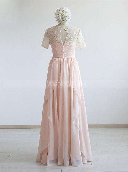 Pink Bridesmaid Dresses with Sleeves,Elegant Bridesmaid Dress,BD00340