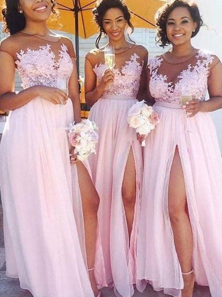 Pink Bridesmaid Dresses with Slit,Chiffon Prom Dress,BD00332