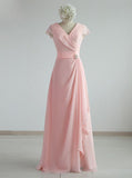 Pink Chiffon Bridesmaid Dresses,Ruffled Bridesmaid Dress,BD00343