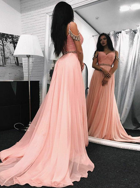 Pink Chiffon Prom Dress,Off the Shoulder Elegant Evening Dress,Evening Dress for Teens PD00070