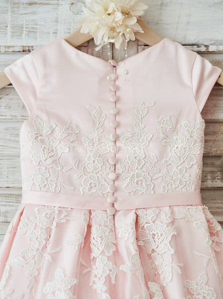 Pink Flower Girl Dress with Cap Sleeves,Tea Length Girl Party Dress,FD00109