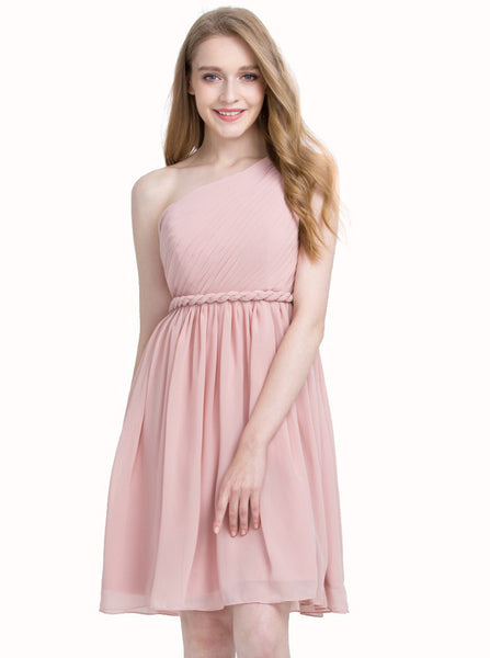 Pink Homecoming Dress,One Shoulder Homecoming Dresses,Knee Length Homecoming Dress,HC00057