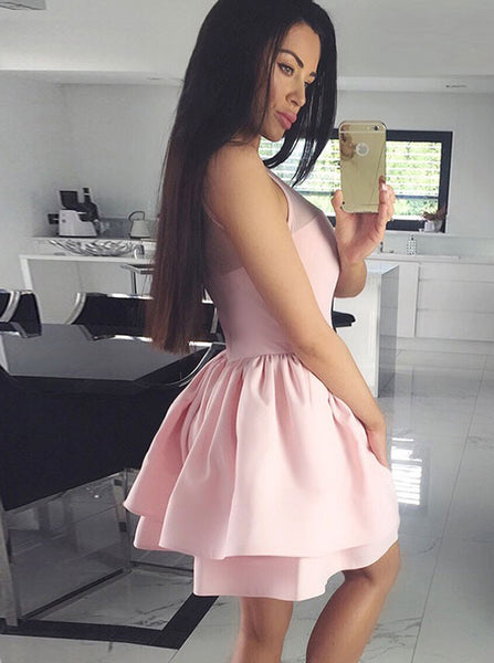 Pink Homecoming Dresses,Short Homecoming Dress,High Neck Homecoming Dress,HC00189