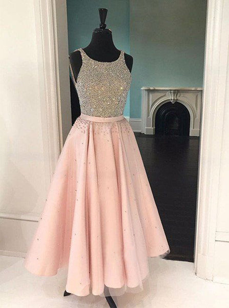 Pink Homecoming Dresses,Tea Length Homecoming Dress,Sparkly Homecoming Dress,HC00136