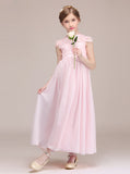 Pink Junior Bridesmaid Dress with Cap Sleeves,Long Chiffon Lace Junior Bridesmaid Dress,JB00043