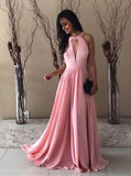 Pink Long Prom Dresses,Silk Like Satin Bridesmaid Dresses,Simple Bridesmaid Dress,PD00372