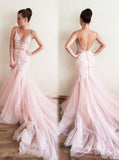 Pink Mermaid Prom Dress,Tulle Long Evening Dress,Prom Dress with Train for Teens PD00050