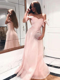 Pink Off the Shoulder Prom Dress,Satin Long Prom Dress,Simple Prom Dress for Teens PD00018