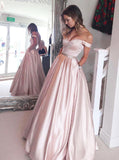 Pink Off the Shoulder Prom Dress,Satin Simple Prom Dress,Modest Evening Dress Long PD00058