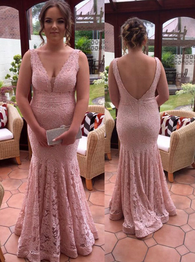 Pink Plus Size Prom Dresses,Lace Plus Size Prom Dress,Mermaid Plus Size  Prom Dress,PD00319