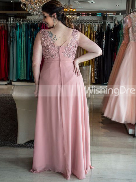 Pink Plus Size Prom Dresses,Long Plus Size Prom Dress,Chiffon Plus Size  Dresses,PD00251