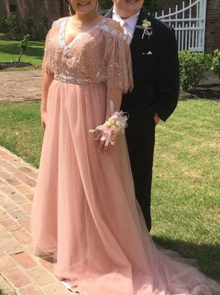 Pink Plus Size Prom Dresses,Tulle Plus Size Prom Dress,Long Plus Size Dress,PD00325