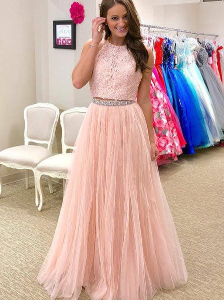 Pink Prom Dress,Two Piece Prom Dresses,Prom Dress for Teens,PD00315
