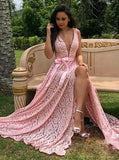 Pink Prom Dresses,Lace Prom Dress,Prom Dress with Slit,Long Evening Dress,PD00279