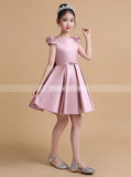 Pink Satin Junior Prom Dress,Short Junior Party Dress,Cute Junior Bridesmaid Dress,JB00044