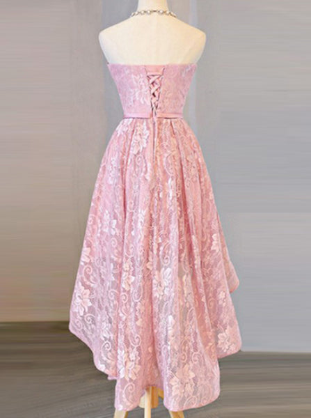 Pink Strapless Lace Homecoming Dress,High Low Prom Dress,Girl Party Dress PD00127
