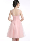 Pink Sweet 16 Dresses,Tulle Sweet 16 Dress,Short Sweet 16 Dress,Cute Homecoming Dress,SW00012