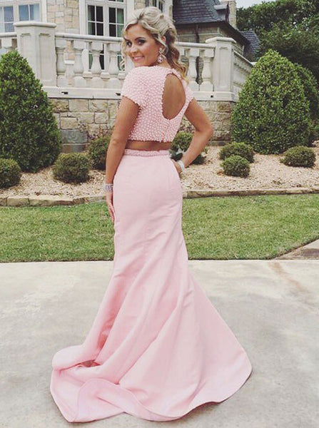 Pink Two Piece Prom Dresses,Fit and Flare Prom Dress,Open Back Prom Dress,PD00292