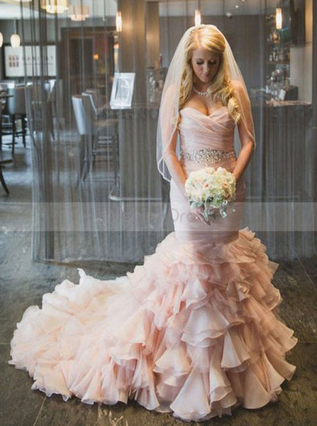 Blush Pink Wedding Dresses,Mermaid Wedding Dress with Ruffles,Organza Bridal Gown,WD00108