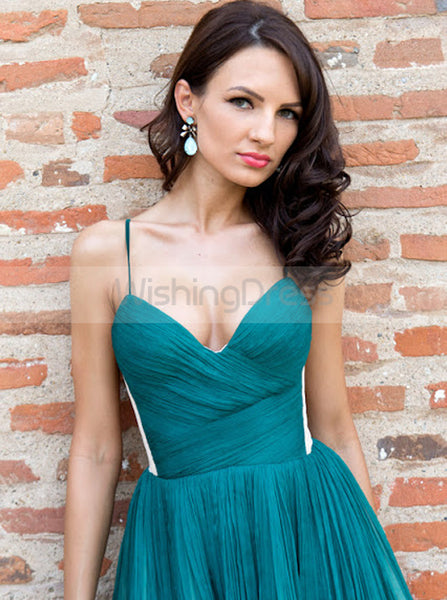 Pleated Homecoming Dresses,Green Cocktail Dresses,Strappy Cocktail Dress,CD00050
