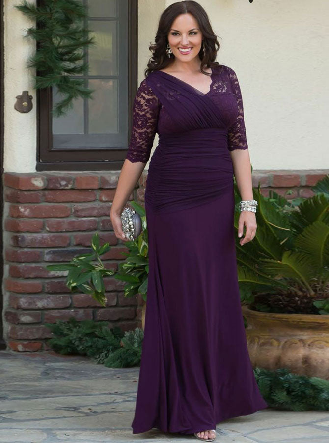 Plus Size Mother of the Bride Dresses,Purple Mother Dress,Mother Dresses  with Sleeves,MD00018