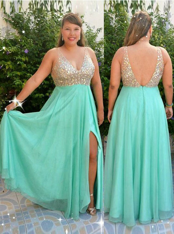 Plus Size Prom Dress with Slit,Beaded Plus Size Prom Dress,Plus Size Dress  for Teens,PD00323