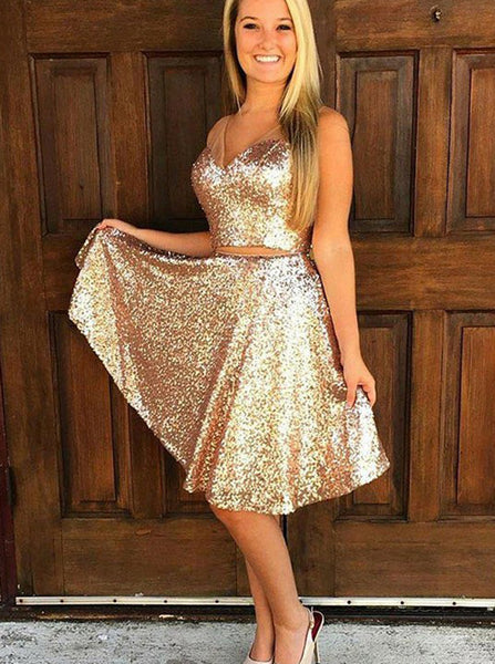 Two Piece Homecoming Dresses,Sequined Homecoming Dress,Knee Length Cocktail Dresses,HC00015