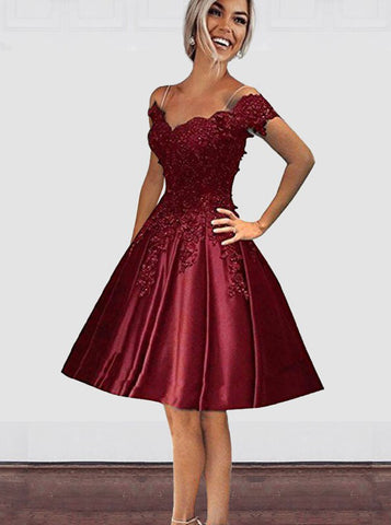 A-line Homecoming Dresses,Satin Off the Shoulder Homecoming Dress,Cute Sweet 16 Dresses,HC00045