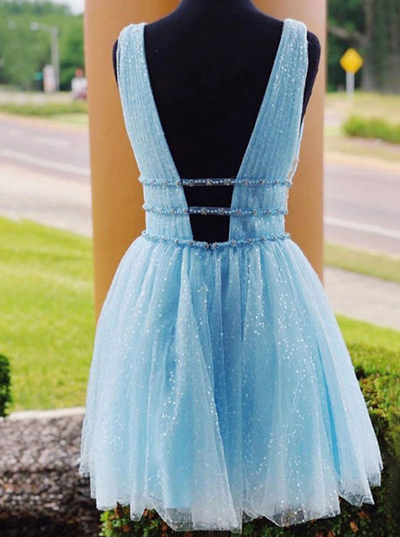 Blue Homecoming Dresses,Tulle Homecoming Dress,Short Homecoming Dress,HC00102