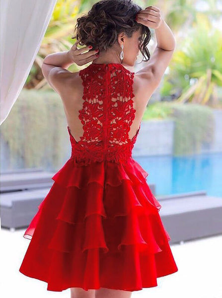 Red Homecoming Dresses,Short Homecoming Dress,Ruffled Homecoming Dress,HC00178