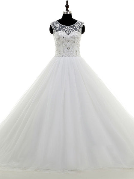 Princess ball gown Wedding Dress,Tulle Beaded Wedding Gown,Simple Wedding Dresses,WD00035
